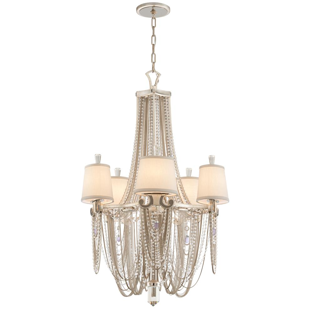 Corbett Lighting 157-05 Flirt 5 Light Chandelier in Silver Leaf With Polished Stainless Accents