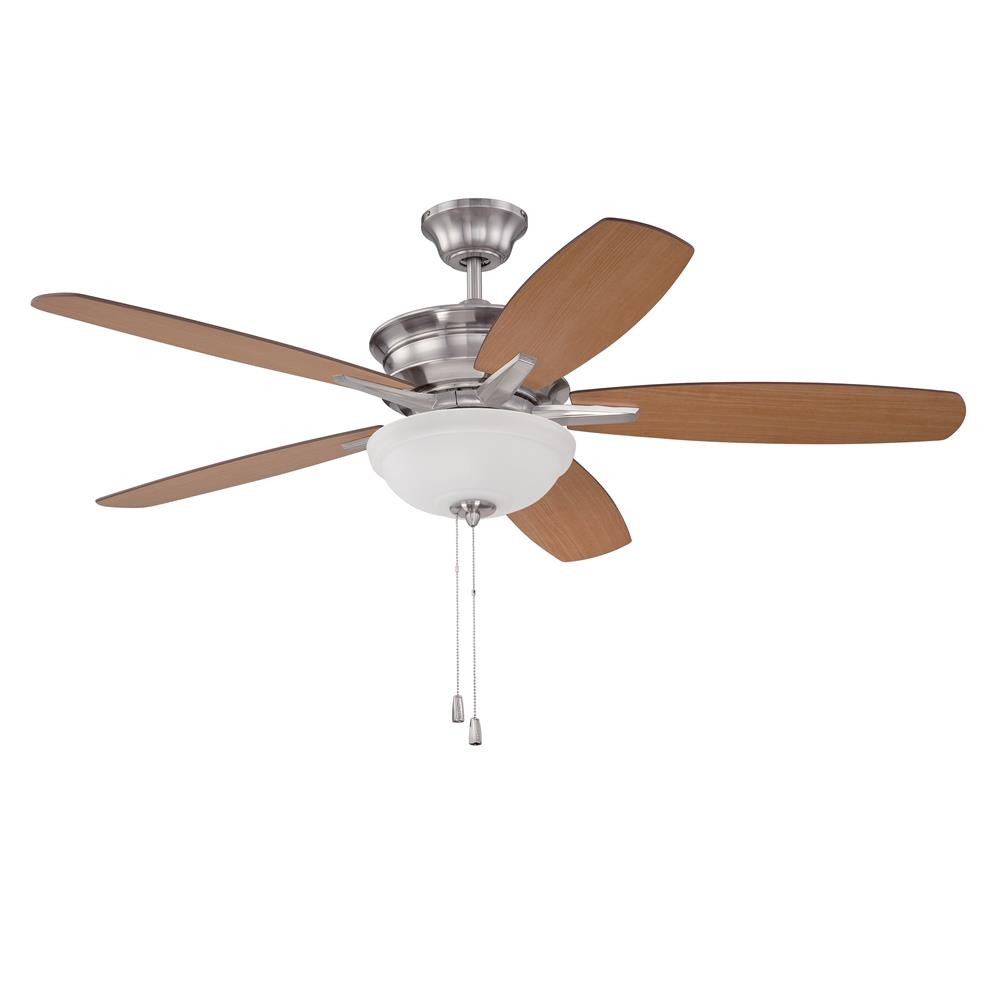 "Craftmade PNB52BNK5 Penbrooke 52"" Ceiling Fan with Blades Included in Brushed Polished Nickel with Frost Glass"