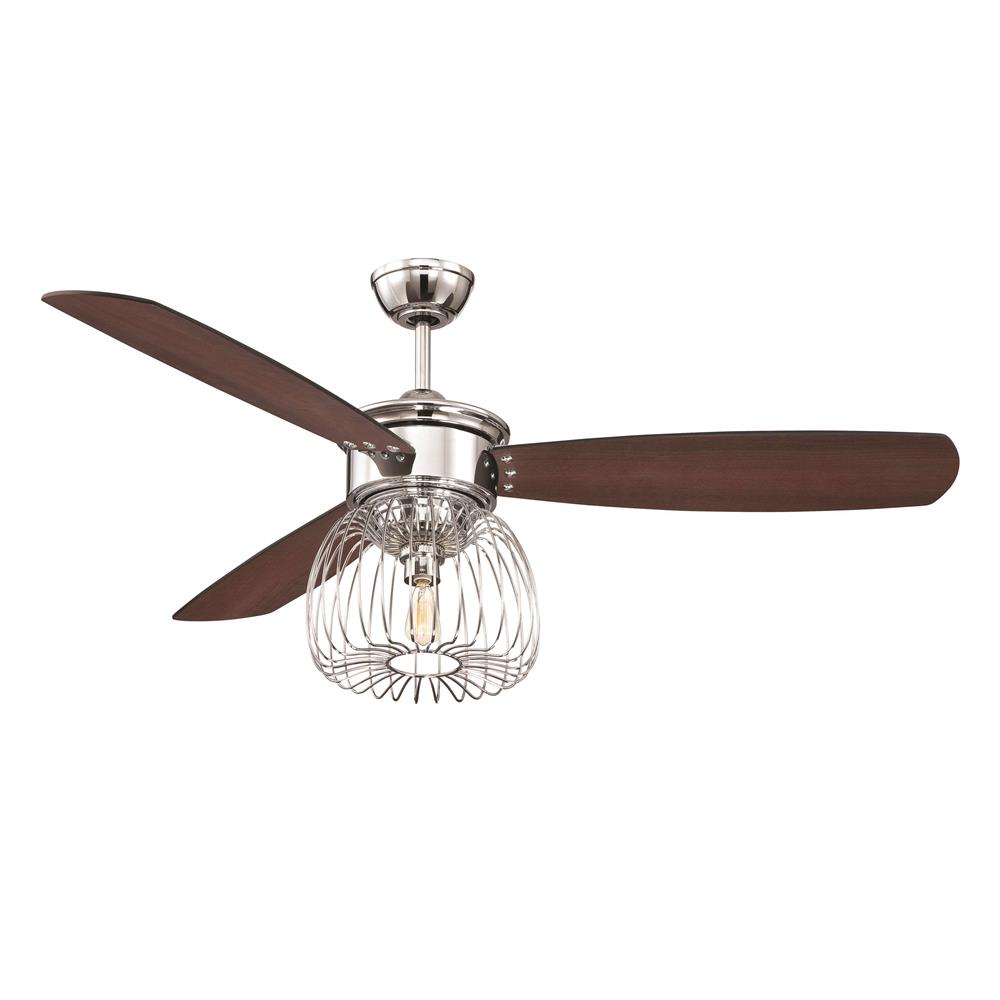 ellington fans lar54ch3 54 ceiling fan w caged light kit in chrome. Black Bedroom Furniture Sets. Home Design Ideas