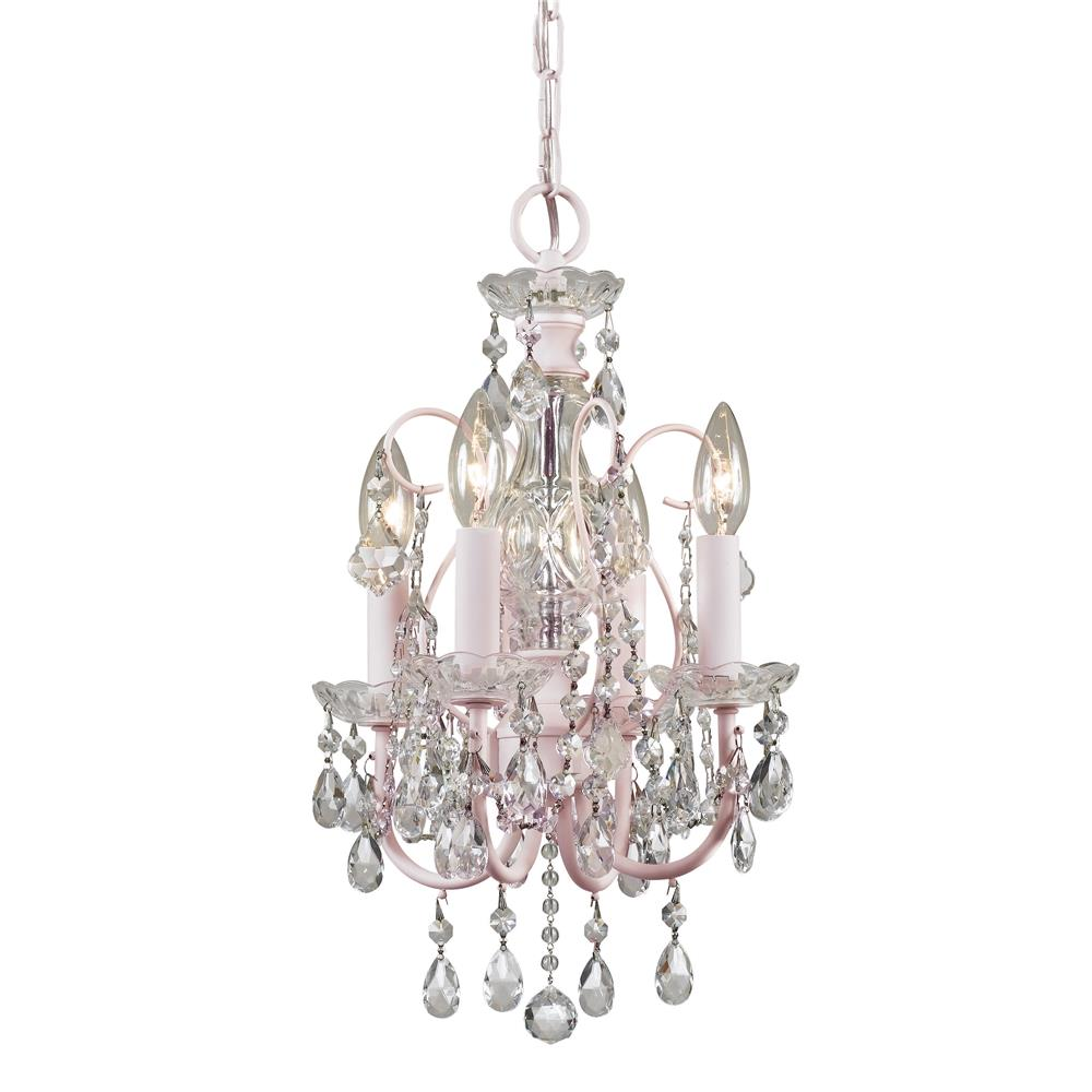 Crystorama Lighting 3224-BH-CL-MWP Imperial 4 Light Clear Crystal Blush Mini Chandelier