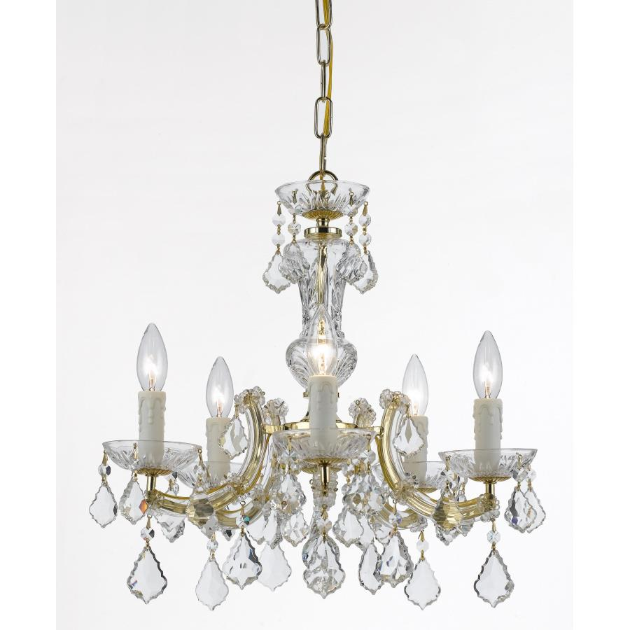 Crystorama Lighting 4376-GD-CL-MWP Maria Theresa 5 Light Gold Mini-Chandelier