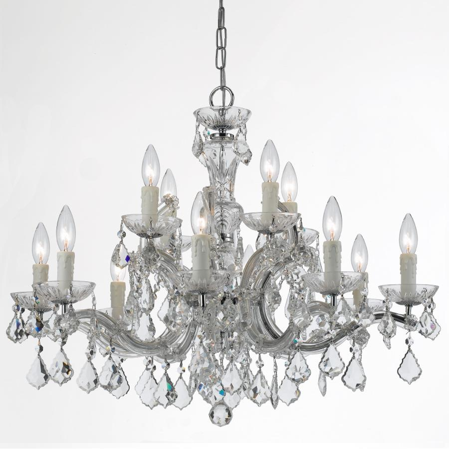 Crystorama Lighting 4379-CH-CL-MWP Maria Theresa 12 Light Clear Crystal Chrome Chandelier