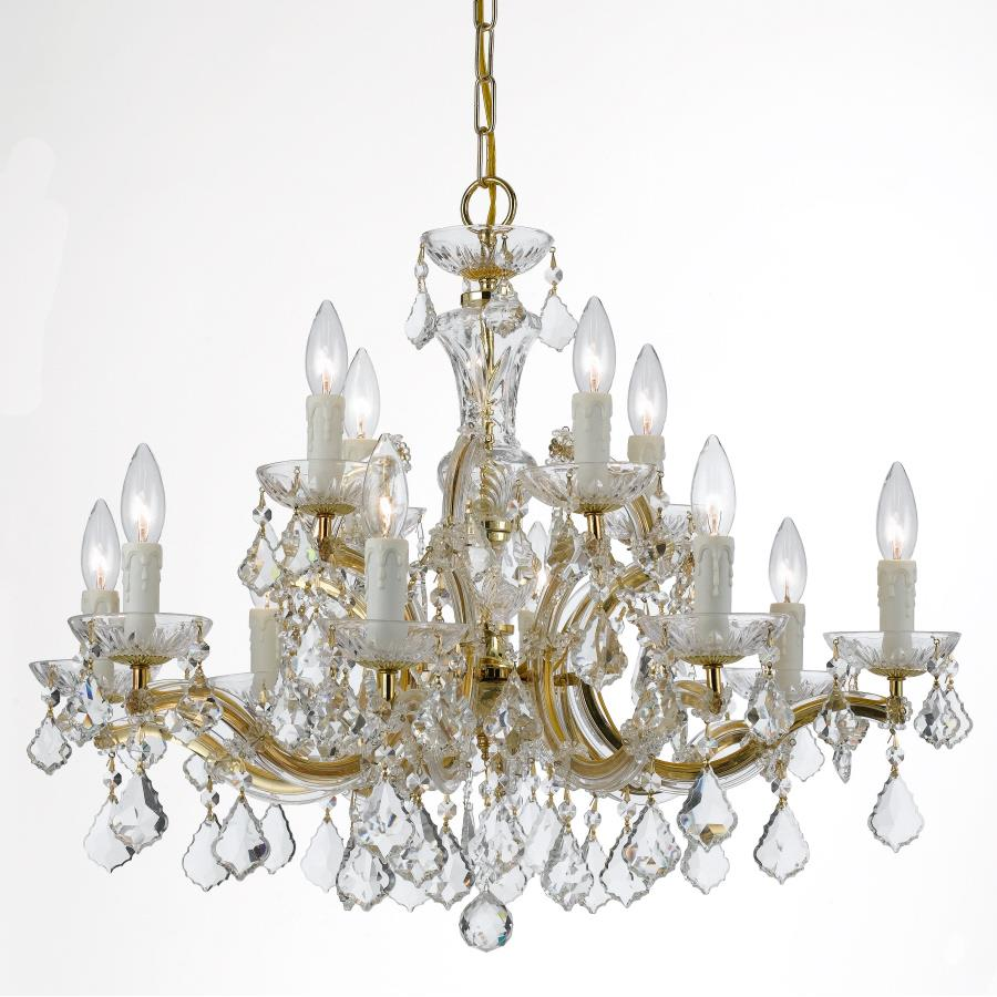 Crystorama Lighting 4379-GD-CL-MWP Maria Theresa 12 Light Clear Crystal Gold Chandelier