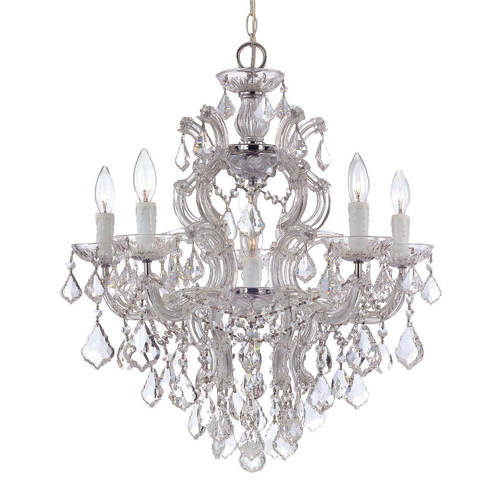 Crystorama Lighting 4435-CH-CL-MWP Maria Theresa 6 Light Clear Crystal Chrome Chandelier