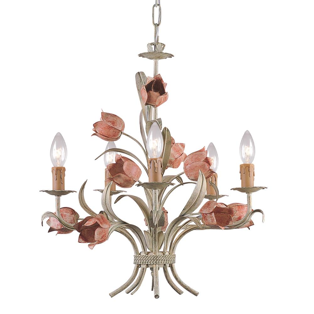 Crystorama Lighting 4805-SR Southport 5 Light Sage Rose Chandelier