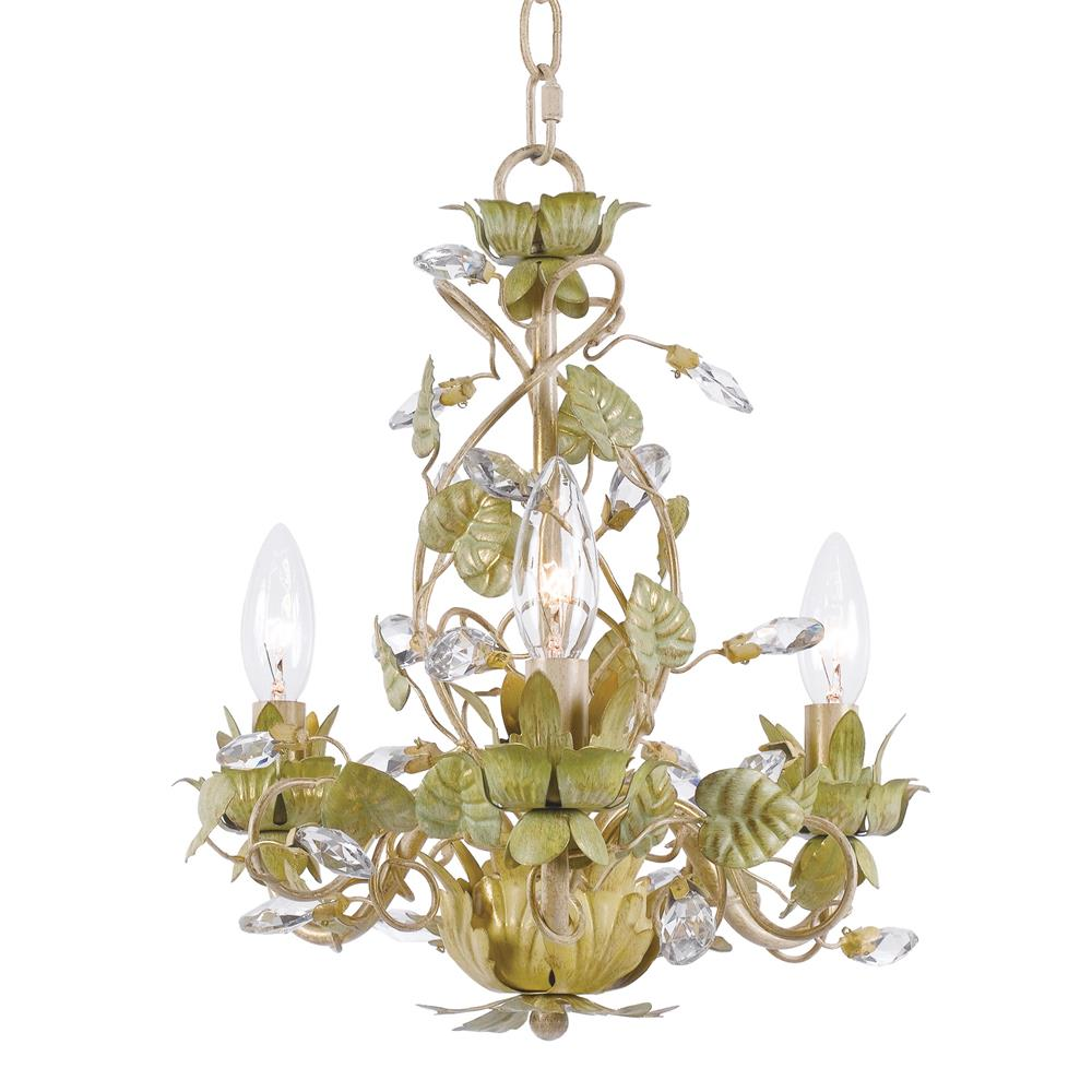 Crystorama Lighting 4843-CT Josie 3 Light Champagne Green Tea Mini Chandelier