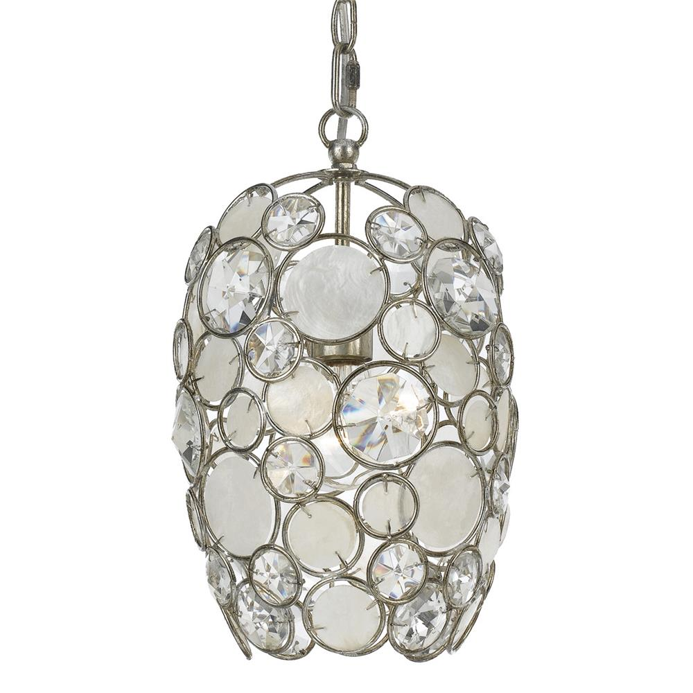 Crystorama Lighting 523-SA Palla 1 Light Antique Silver Mini Chandelier