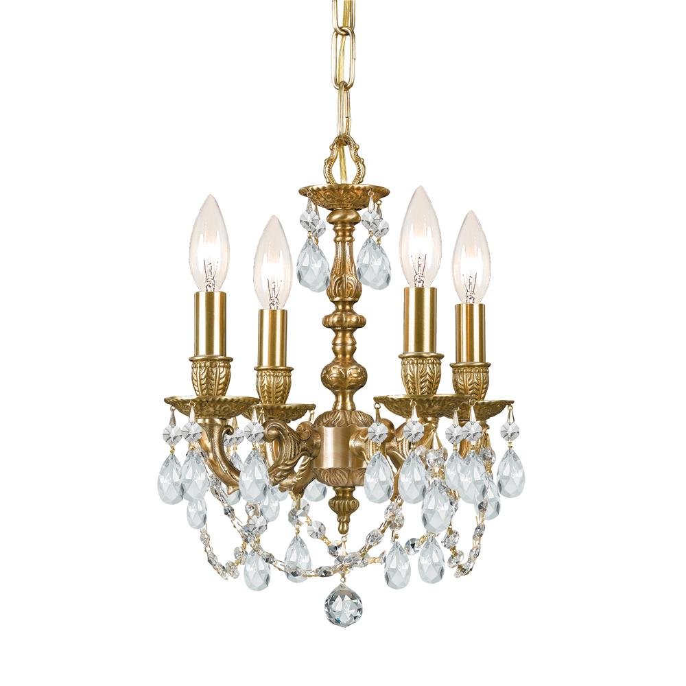 Crystorama Lighting 5504-AG-CL-MWP Gramercy 4 Light Clear Crystal Brass Mini Chandelier