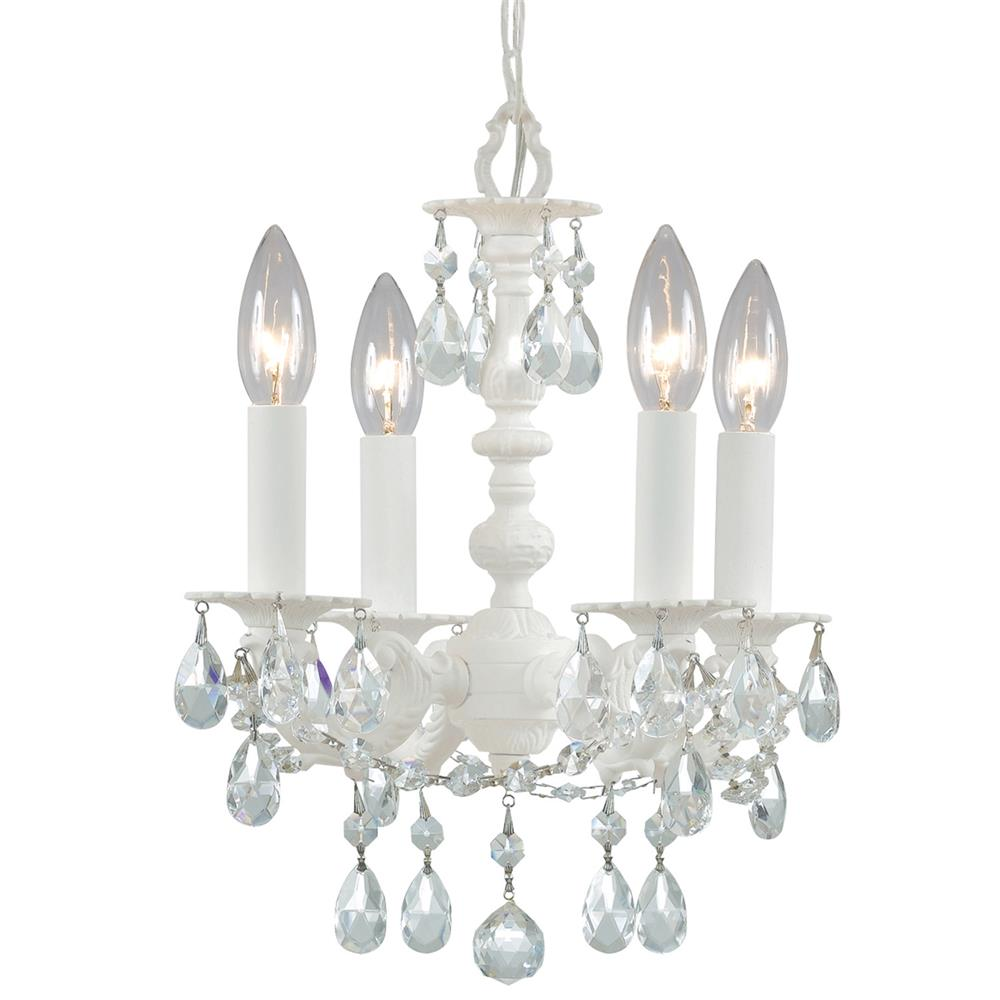 Crystorama Lighting 5514-WW-CL-MWP Paris Market 4 Light Wet White Youth Mini Chandelier Draped In Clear Hand Cut Crystal