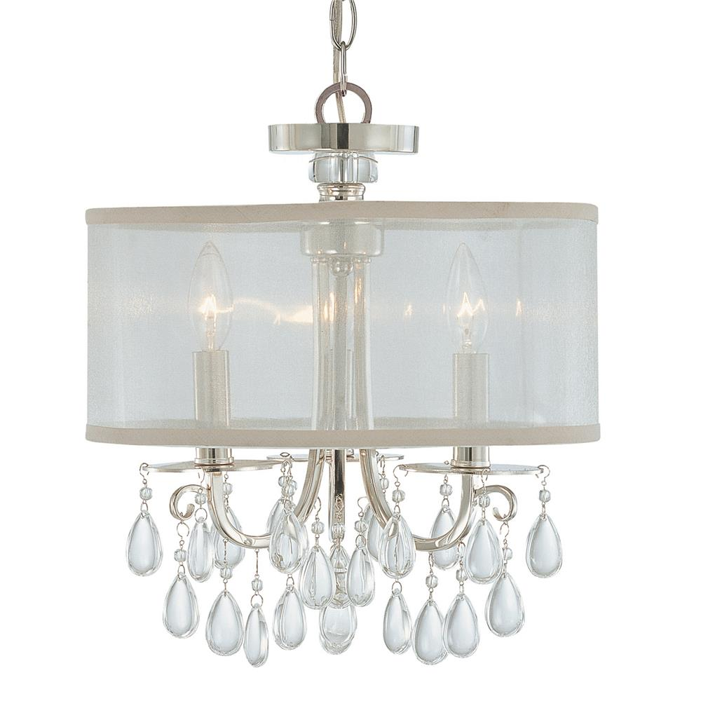 Crystorama Lighting 5623-CH Hampton 3 Light Chrome Clear Crystal Drum Shade Chandelier