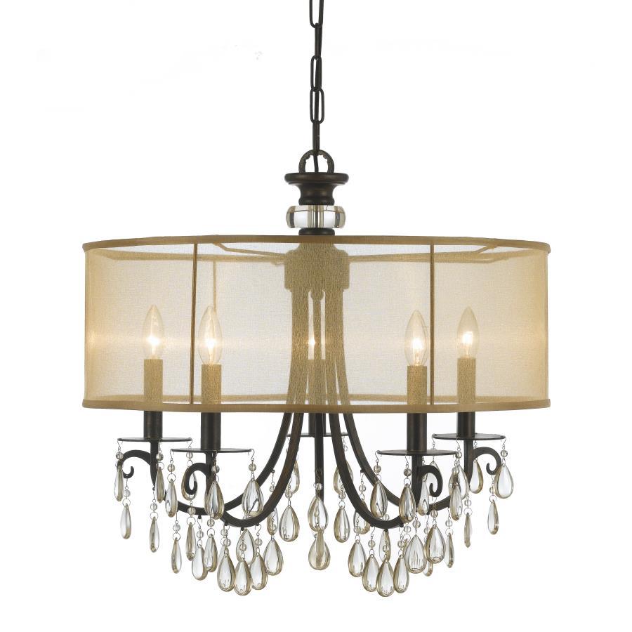 Crystorama Lighting 5625-EB Hampton 5 Light Drum Shade Bronze Chandelier