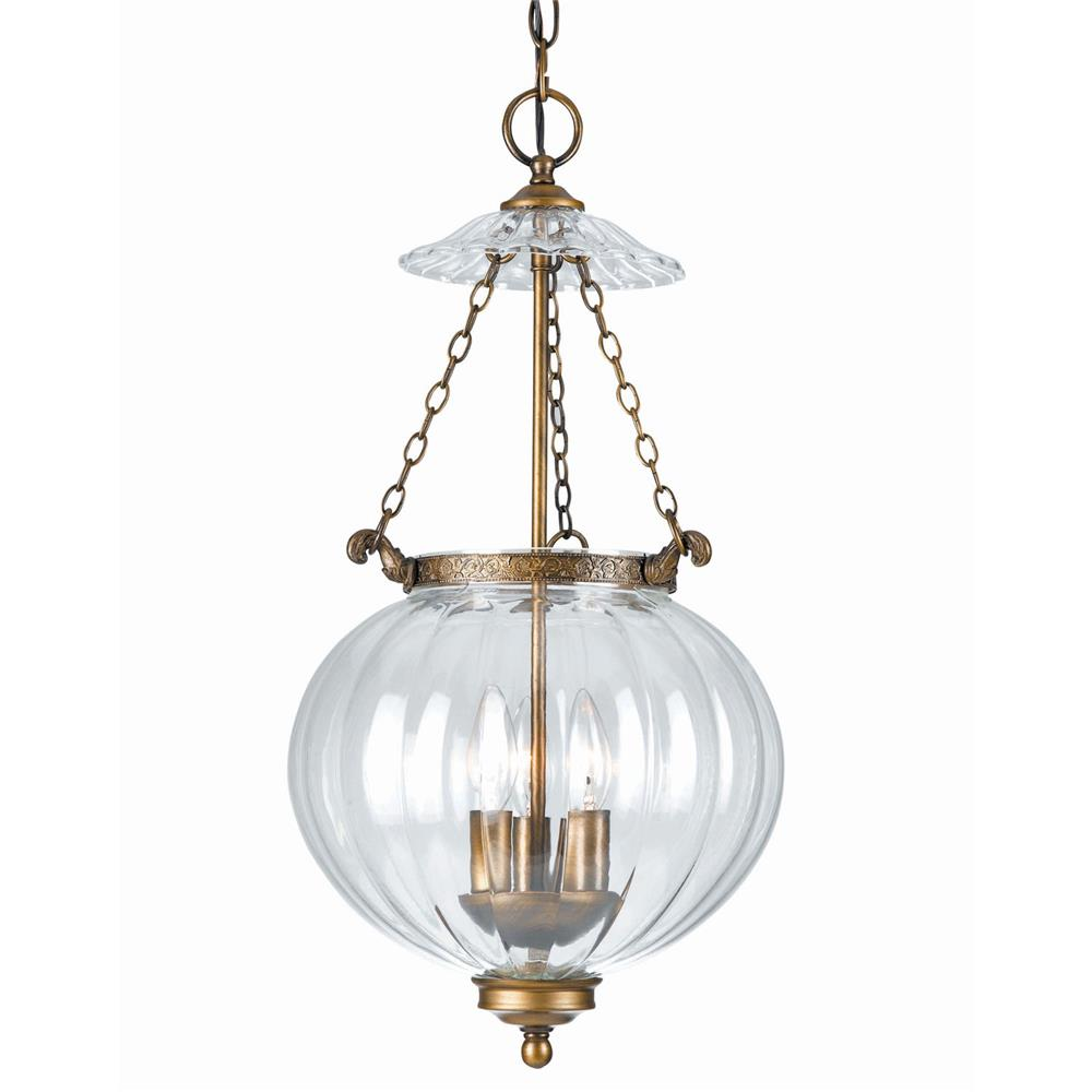 Crystorama Lighting 5783-AB 3 Light Brass Glass Pendant