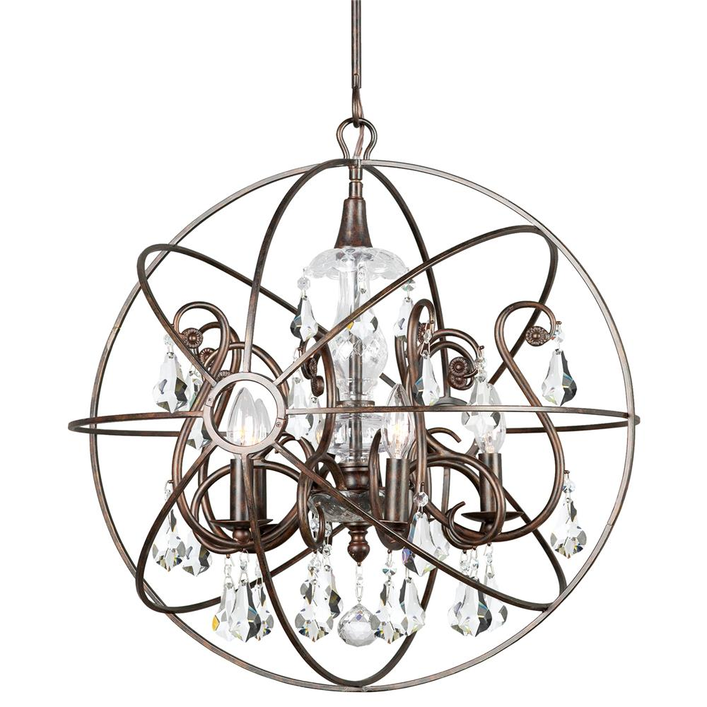 Crystorama Lighting 9026-EB-CL-MWP Solaris 5 Light Crystal Bronze Sphere Chandelier