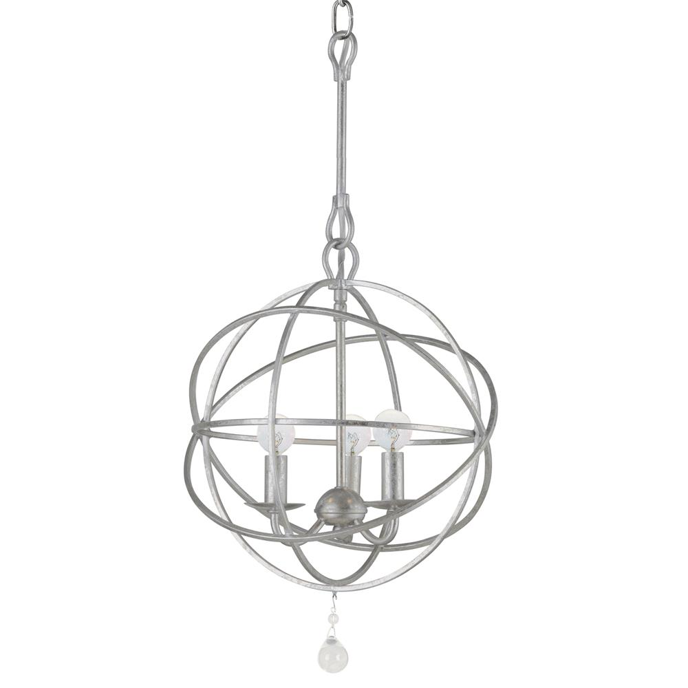 Crystorama Lighting 9225-OS Solaris 3 Light Olde Silver Mini Chandelier