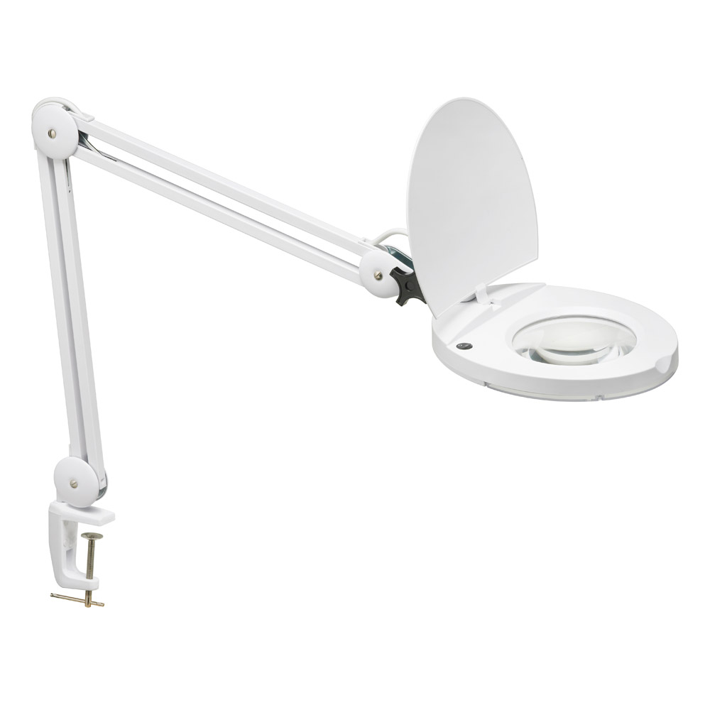 Dainolite Lighting DIM10A-5D-WH Magnifier 1 Light Table Lamp in White