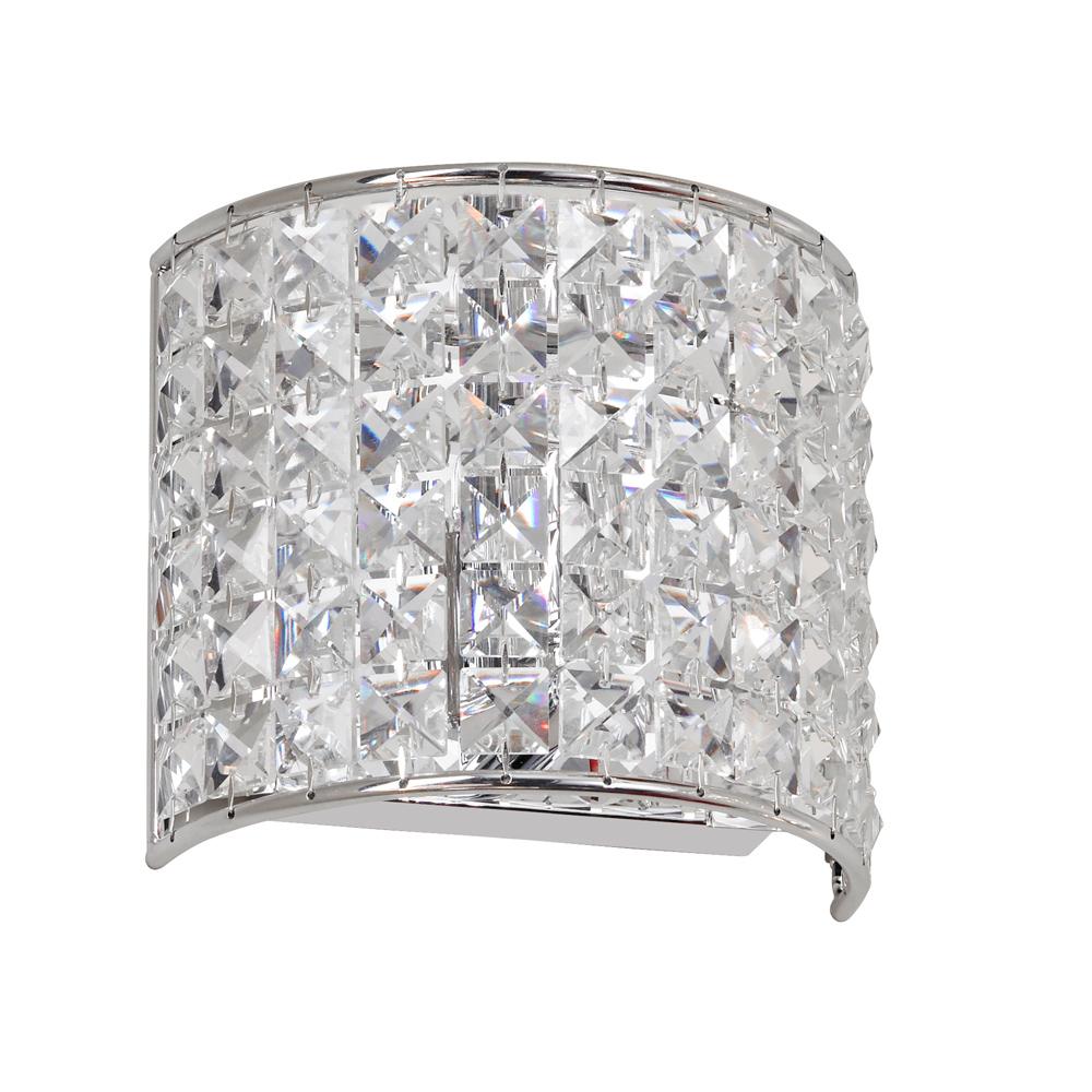 Dainolite Lighting V677-1W-PC Crystal 1 Light Vanity in Polished Chrome