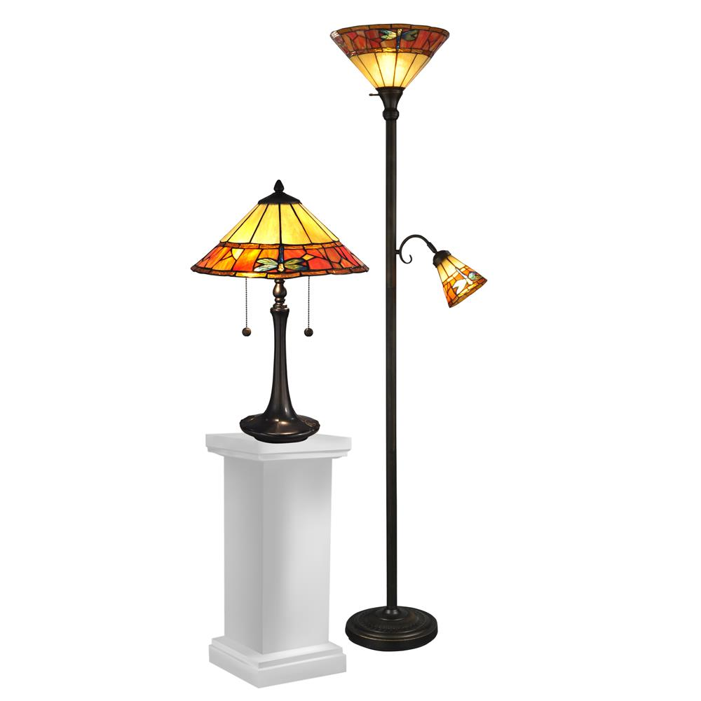 Dale Tiffany TC12178 Genoa Table & Floor Lamp Set