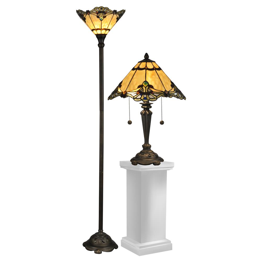 Dale Tiffany TC12179 Brena Table & Floor Lamp Set