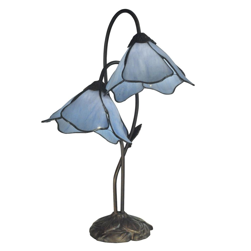 Dale Tiffany TT12147 Poelking 2-Light Blue Lily Table Lamp