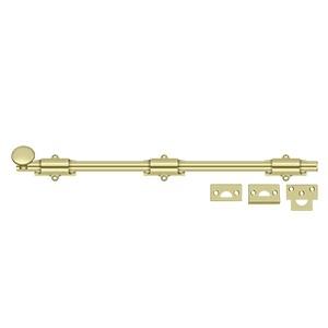 """Deltana 18SB3-UNL 18"""" Heavy Duty Surface Bolt in Unlacquered Brass"""