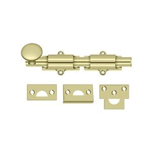 """Deltana 6SB3-UNL 6"""" Heavy Duty Surface Bolt in Unlacquered Brass"""