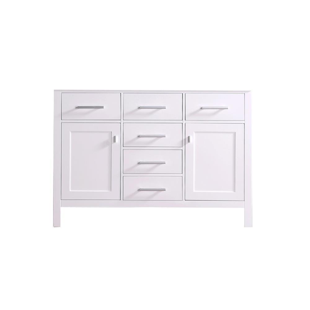 "Design Elements DEC076C-W-CB London 48"" Single Sink Base Cabinet in White"