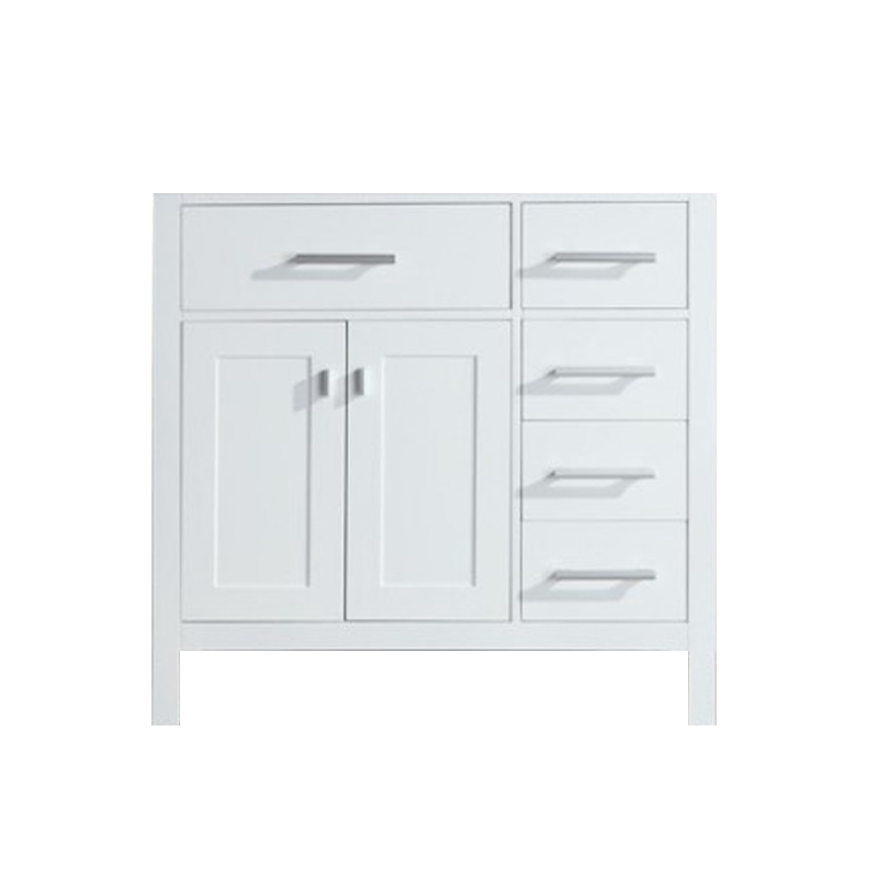 """Design Elements DEC076DR-W-CB London 36"""" Single Sink Base Cabinet in White with Drawers on the Right"""