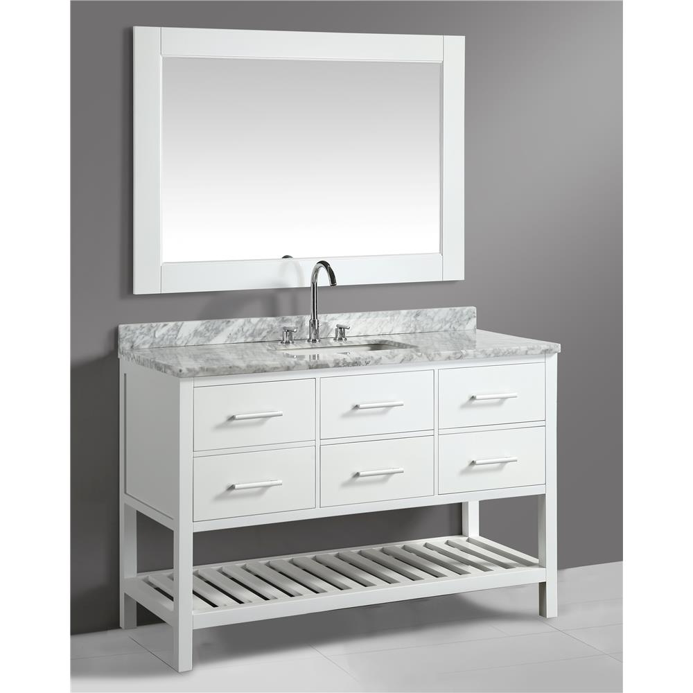 """Design Elements DEC077-54-W London 54"""" Single Sink Vanity Set in White with White Carrera Marble Top"""