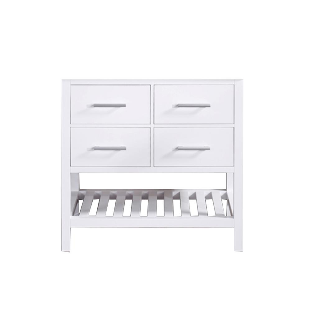 """Design Elements DEC077A-W-CB London 36"""" Single Sink Base Cabinet in White with Open Bottom"""