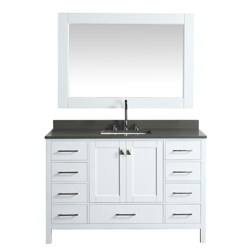 """Design Elements DEC082D-W-G London 54"""" Vanity in White with Quartz Vanity Top in Gray with White Basin and Mirror"""