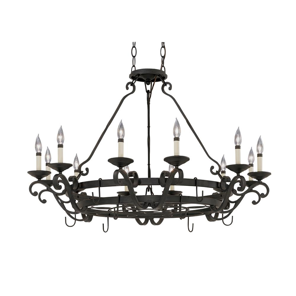 Designers Fountain 9031-NI Pot Rack with 12 Light Chandelier in Natural Iron