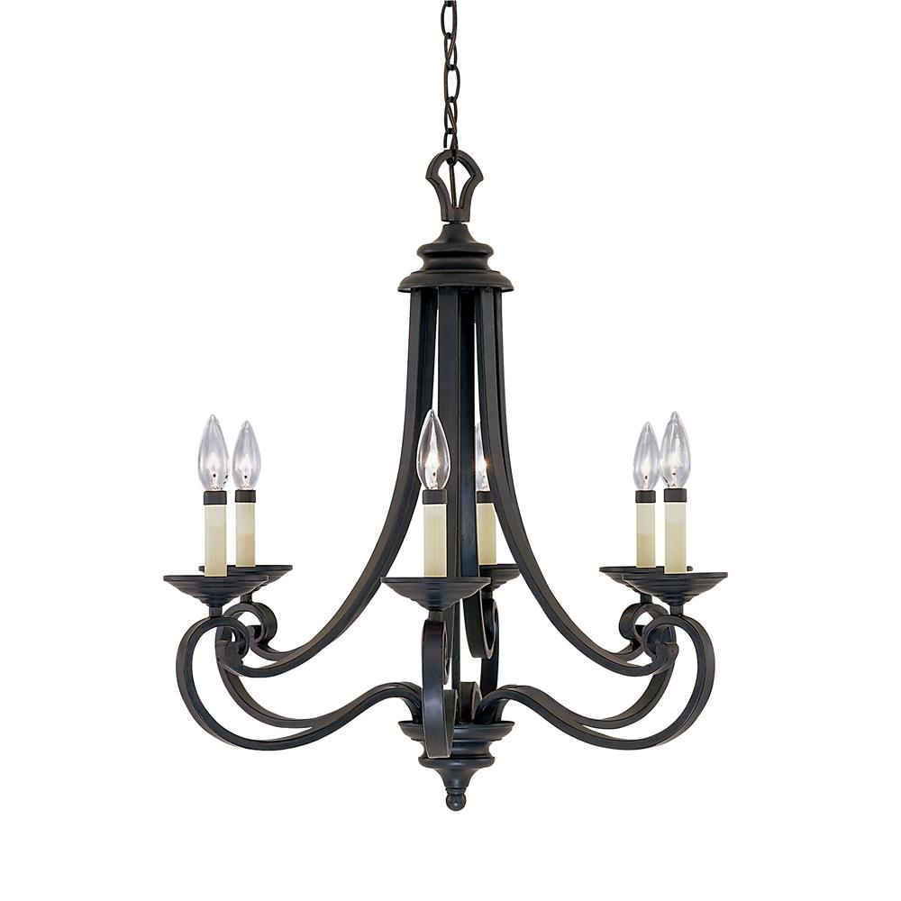Designers Fountain 9036-NI 6 Light Chandelier in Natural Iron