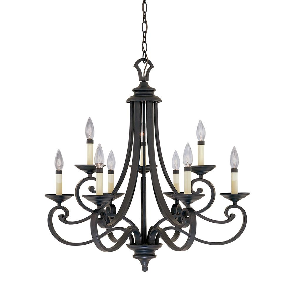 Designers Fountain 9039-NI 3+6 Chandelier in Natural Iron