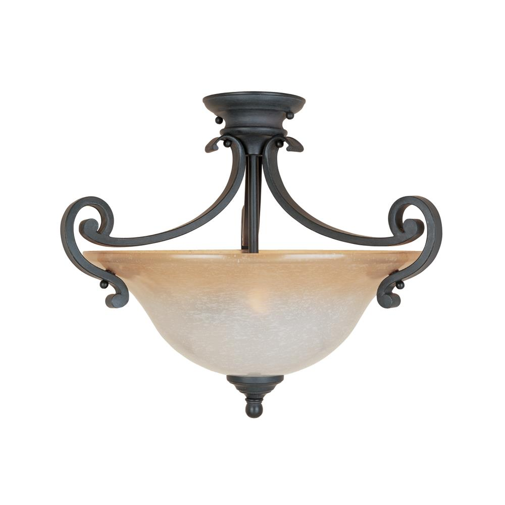 Designers Fountain 96111-NI 2 Light Semi Flush in Natural Iron (Ochere Finished Glass)
