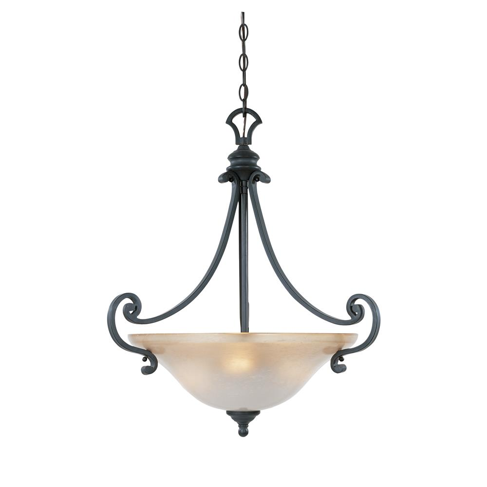 Designers Fountain 96131-NI 3 Light Inverted Pendant in Natural Iron (Ochere Finished Glass)