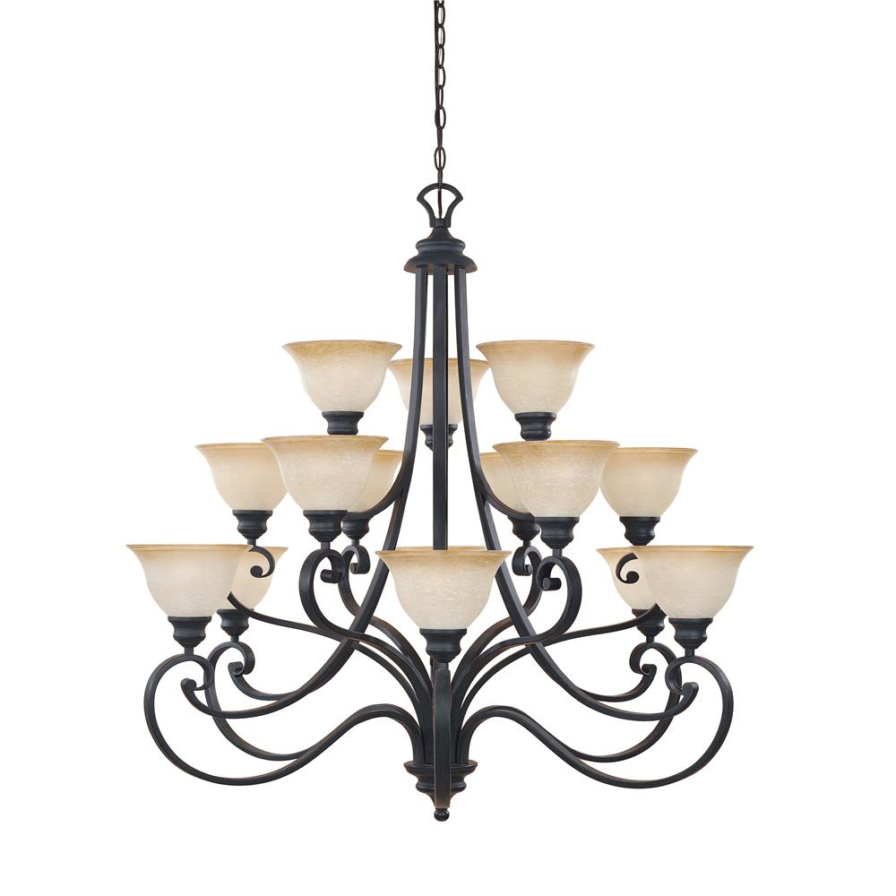 Designers Fountain 961815-NI 3 Tier chandelier, with 10 ft of chain. in Natural Iron (Ochere Glass)