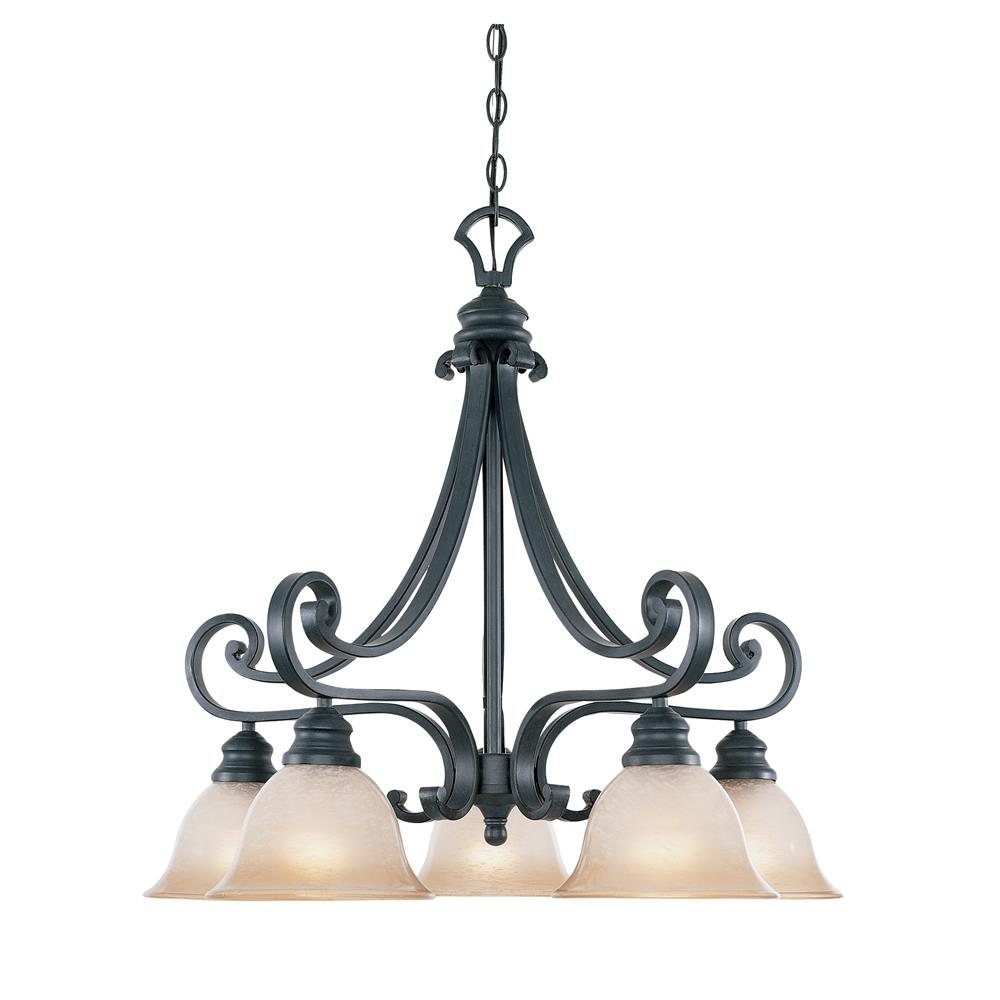 Designers Fountain 96185-NI 5 Light Chandelier Downlight in Natural Iron (Ochere Finished Glass)
