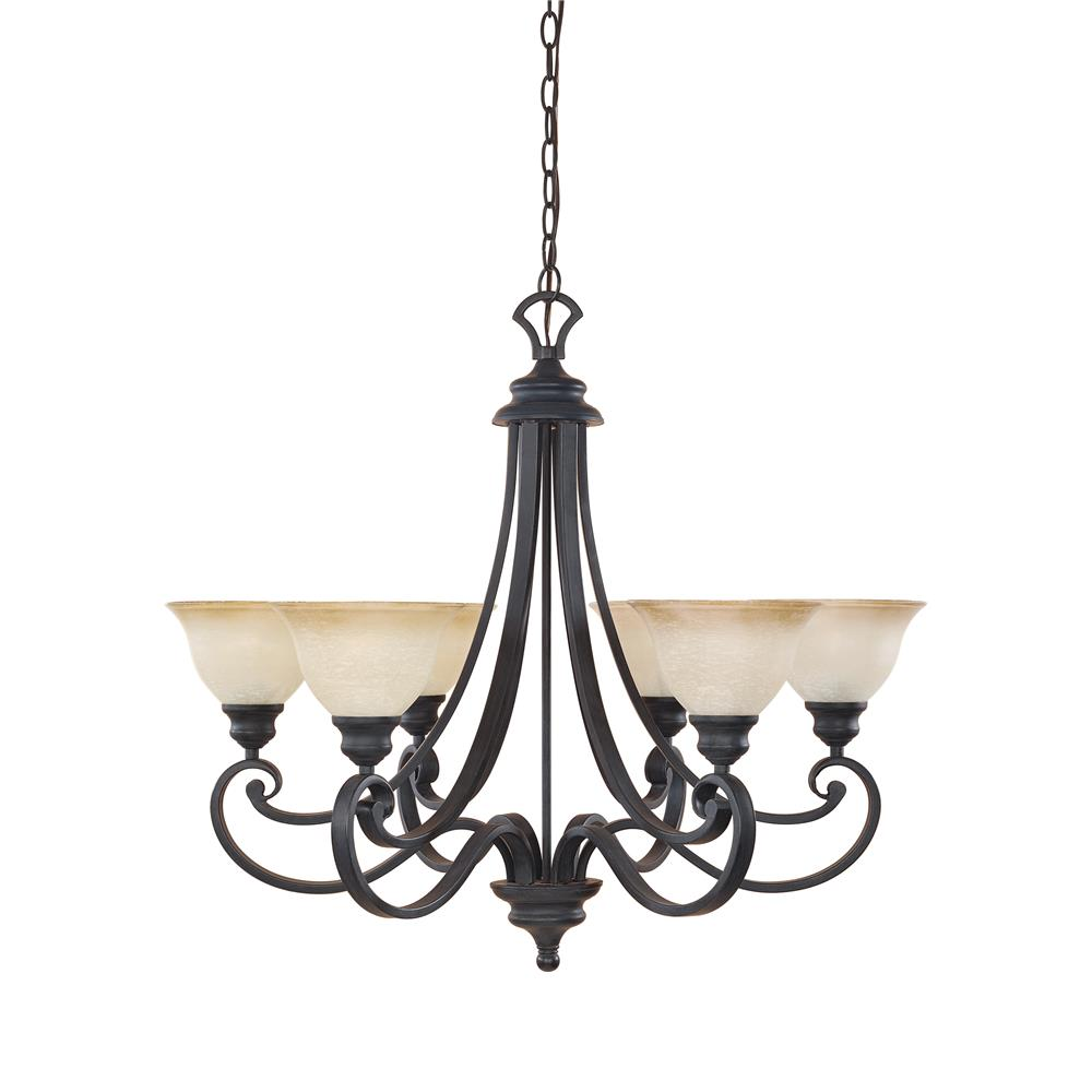 Designers Fountain 96186-NI 6 Light Chandelier in Natural Iron (Ochere Glass)
