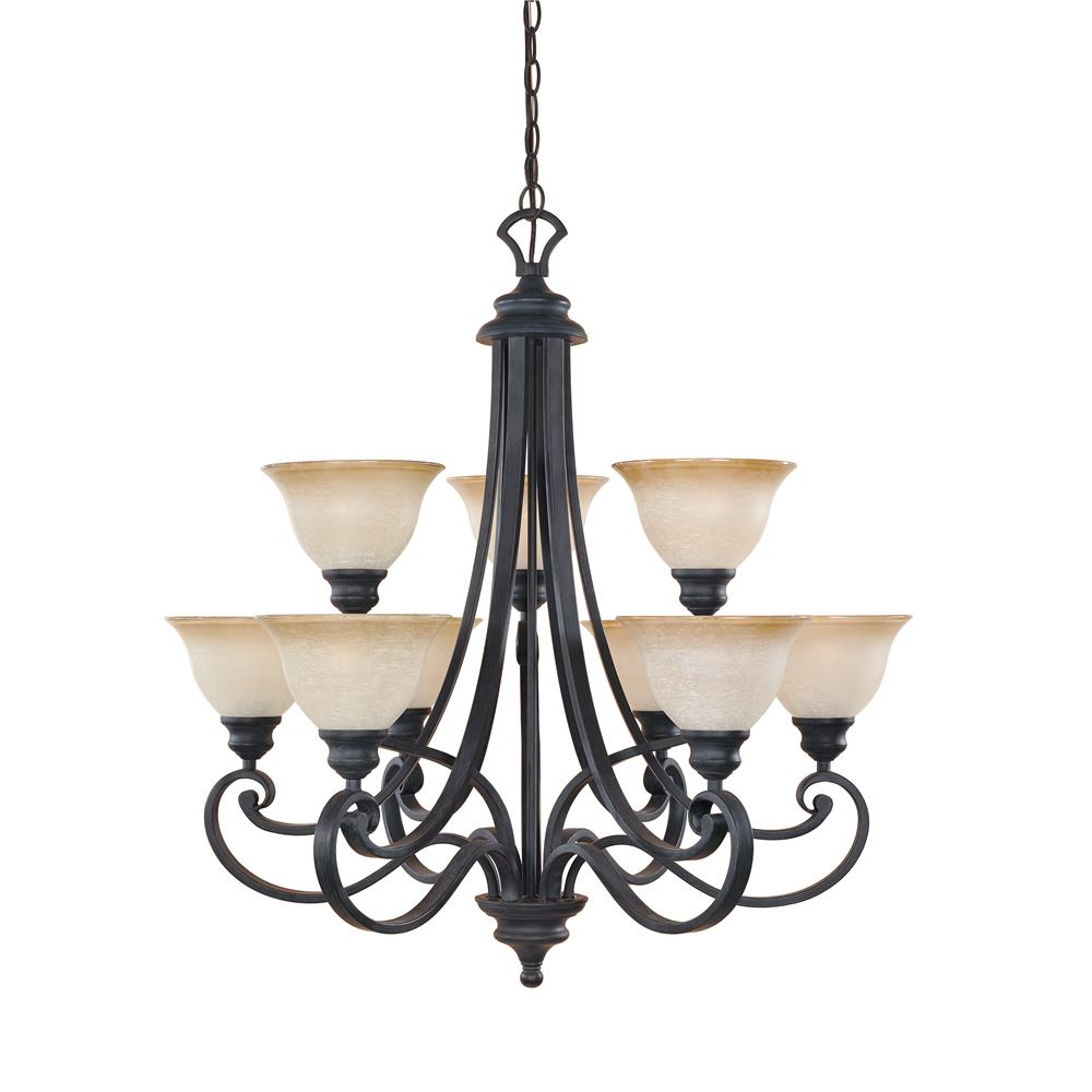 Designers Fountain 96189-NI 3+6 Light chandelier, with 10 ft chain. in Natural Iron (Ochere Glass)