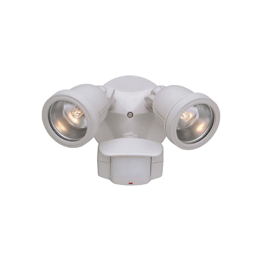 Designers Fountain PH218S-06 180 Degree Motion Detector Quartz Halogen Twin Light in White
