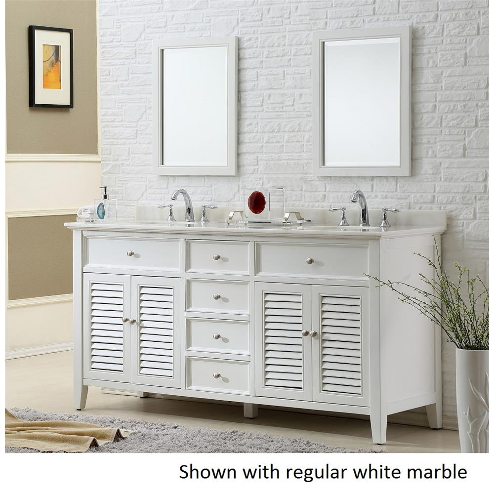 """J & J Intenational 6070D12-WW 70"""" Pearl white Shutter double vanity sink cabinet with regular white marble"""