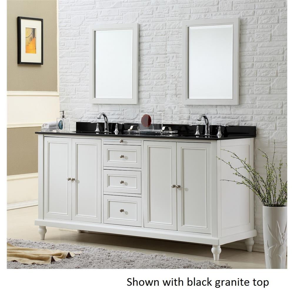 """J & J Intenational 6070D9-WBK 70"""" Classic Pearl White Double Vanity Sink Cabinet with black granite top"""