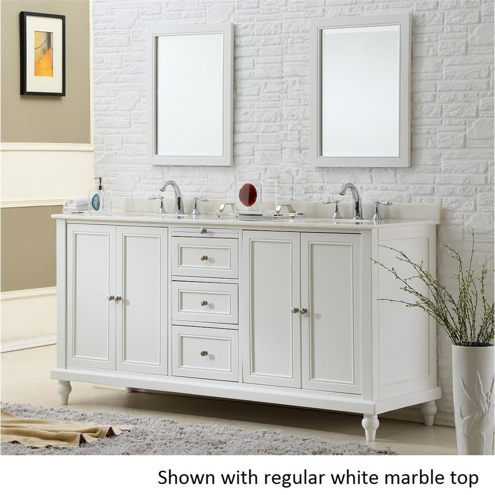 "J & J Intenational 6070D9-WT 70"" Classic Pearl White Double Vanity Sink Cabinet with white marble top"