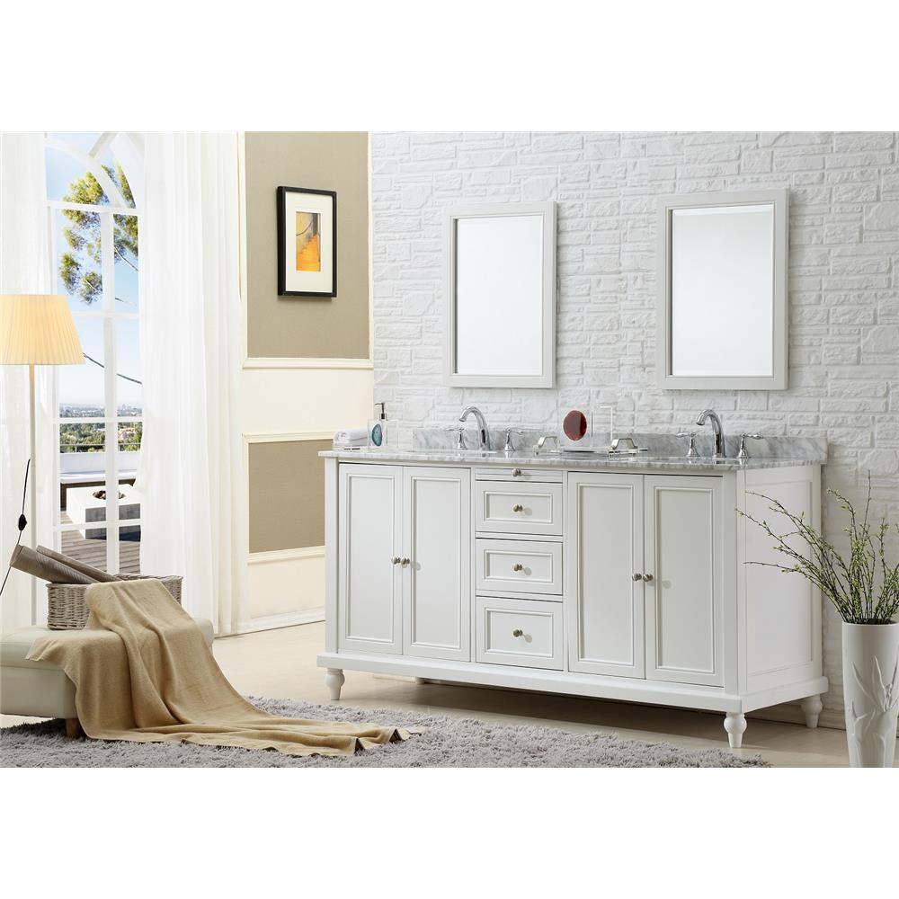 "J & J Intenational 6070D9-WTC 70"" Classic Pearl White Double Vanity Sink Cabinet with Carrara white marble  top"