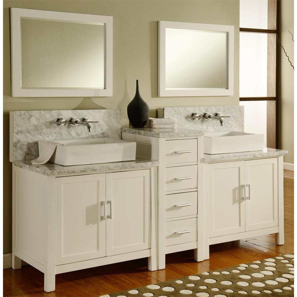 "J & J Intenational 7080D1-WWC 84"" Horizon Double Vanity Sink Console w/Pearl White Finish, White Carrera Marble"