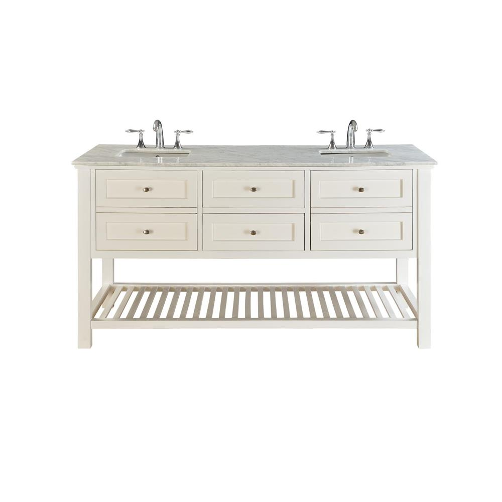 """J & J Intenational 70D6-WWC 70"""" Pearl White Mission Spa double vanity sink cabinet with Carrera white marble"""