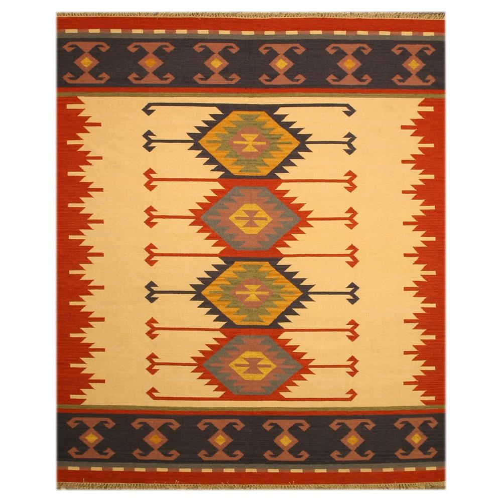 EORC DN1MU Ivory  Handmade Wool Keysari Kilim Rug 5