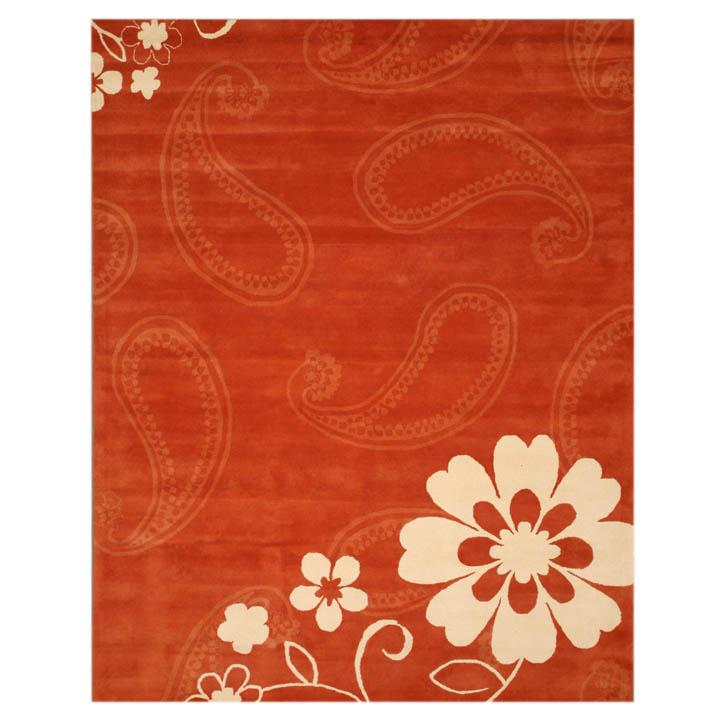 EORC IE205X8 Hand Tufted Wool Ron Rug in Rust