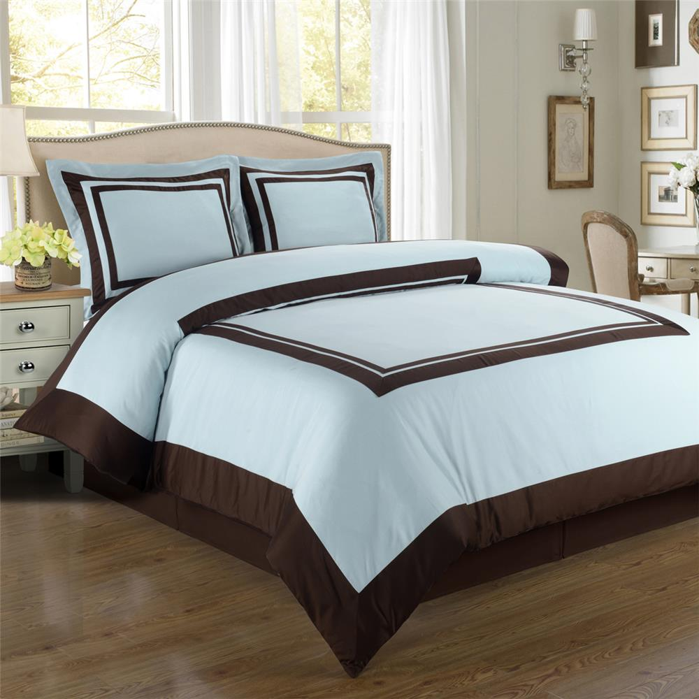 Egyptian Linens 184-2551 BLUE/CHOCOLATE 100% Egyptian cotton Hotel Duvet cover set