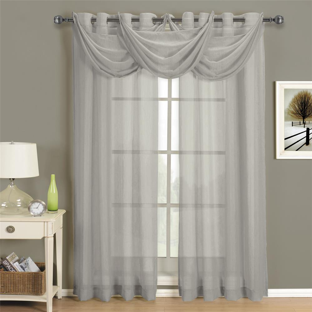 """Egyptian Linens 276-855 Gray Abri Grommet Crushed Sheer Curtain Panel 24"""" X 24"""" Valance"""
